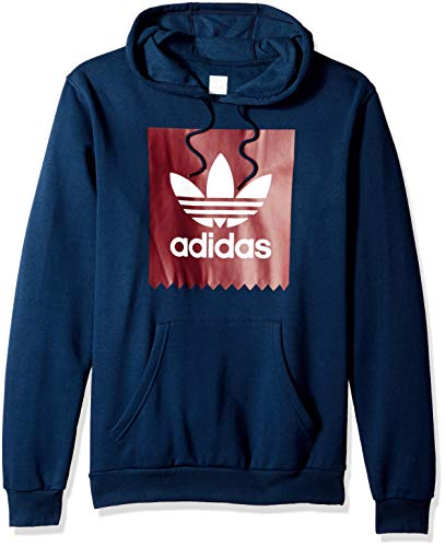 adidas Originals Men's Solid Bb Hoodie, Navy/Collegiate Burgundy/White, L