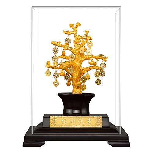Ornamento de Escritorio Decoración de la hoja de oro Home Crafts Feng Shui chino Dinero de la moneda del árbol for la abundancia de la salud y financiero ganancias de equilibrio de Chakra regalo artes