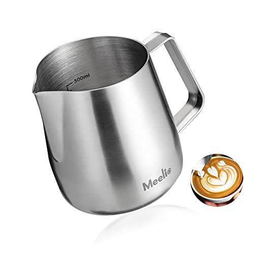 MeelioCafe Milchkännchen, 420 ml Handheld Edelstahl Aufschäumkännchen, Kaffee Creamer Milch Aufschäumer Kännchen Tasse mit Messung Mark, Milch Aufschäumen für Cappuccino und Latté, Mattiertes Silber