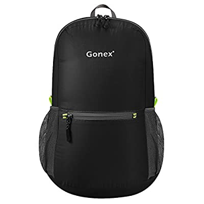 Gonex Ultra Lightweight Packable Backpack Daypack Handy Foldable Camping Outdoor Travel Cycling School Backpacking(Black)