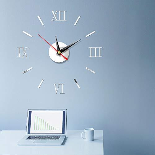 Lovearn 3D DIY Wanduhr, Moderne Mute römischen Ziffern Uhr Rahmenlose Spiegelfläche Wandaufkleber Ausgangsdekor für Wohnzimmer Schlafzimmer (Silber-)