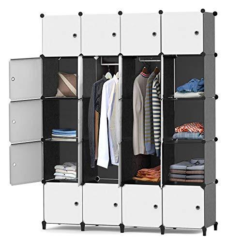 HOMIDEC Kleiderschrank, Tragbarer Regalsystem, 20 Würfel Schrank aus Kunststoff mit 3 Kleiderstange, Schlafzimmerschrank kleiderschrank Weiss für Schlafzimmer, 180 x 142 x 46cm