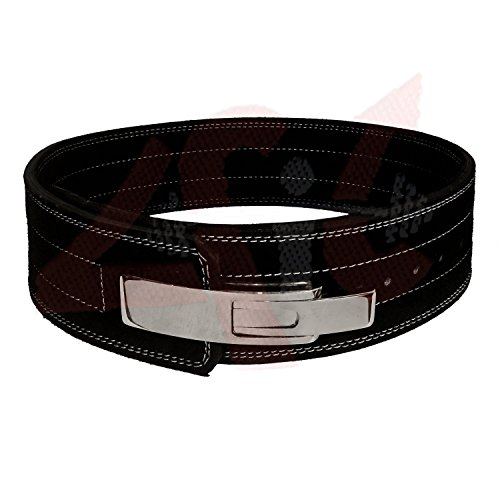 4Fit 10MM Weight Power Lifting Leather Lever Pro Belt Gym Training Black (Small)