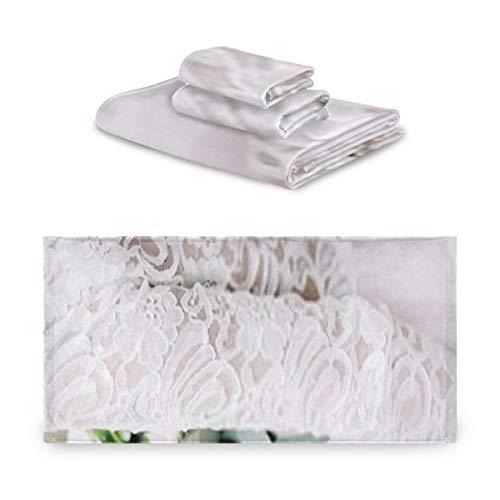 Juego de toallas de 3 piezas, la novia sostiene el ramo de...