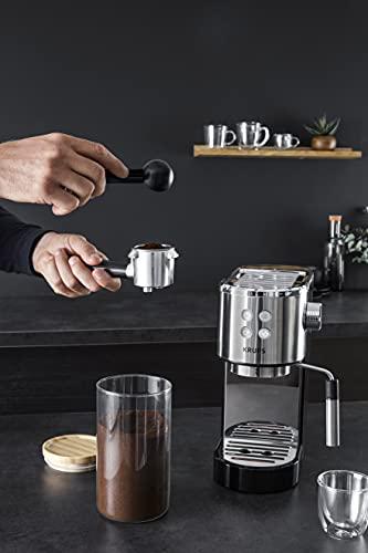 Krups Virtuoso XP442C cafetera espresso, diseño compacto y elegante, capacidad 1.1 L, espresso, cappuccino, sistema...