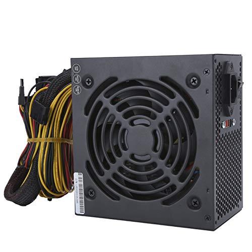 Fuente de alimentación para computadora, 600 W, accesorios de escritorio, ventilador silencioso con cable de alimentación, manual ajustable 115 / 230V ATX 24-PIN Negro((Enchufe de la UE))
