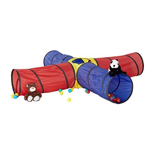 Relaxdays 10022467 Spieltunnel XXL, großer Kindertunnel aus 4 Röhren, knallbunter Krabbeltunnel für Kinder ab 3 Jahre, bunt