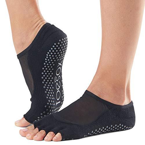 Toesox Calcetines unisex yoga y pilates, Unisex, calcetines con agarre para Yoga y Pilates, YTOENTLUNABLACK-M, negro, Medium
