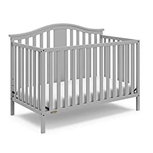 Graco Solano 4-in-1 Convertible Crib, Easily Converts to Toddler Bed Day Bed or Full Bed, Three Position Adjustable Height Mattress, Assembly Required (Mattress Not Included), Pebble Gray
