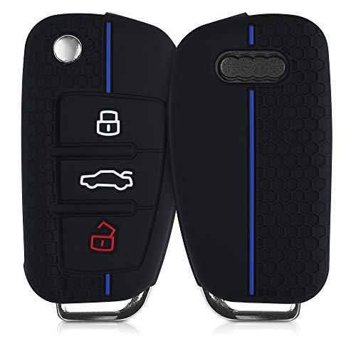 kwmobile Funda de Silicona Compatible con Audi Llave de Coche Plegable de 3 Botones - Carcasa Suave de Silicona - Case Mando de Auto Negro/Azul