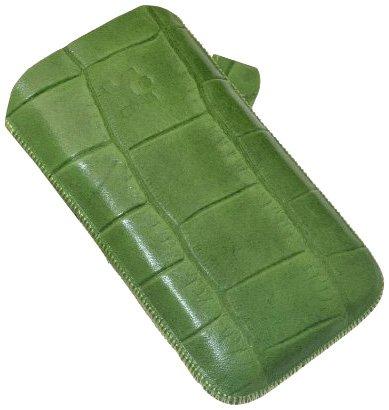 Suncase Custodia in Pelle per Samsung Galaxy W i8150, Colore: Verde Stampa Coccodrillo