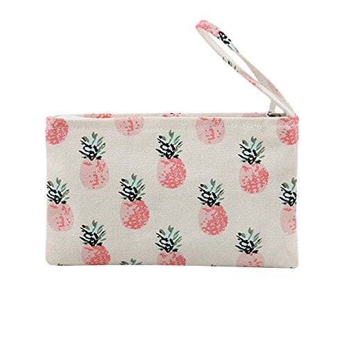 Caixia Women's Tropical Pineapple Patern Canvas Tote Shopping Bag Beige (Pouch)