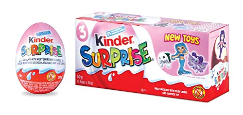 Kinder Surprise Chocolate Eggs with Toys, Pink, 3 Count, 60 grams (20gx3)