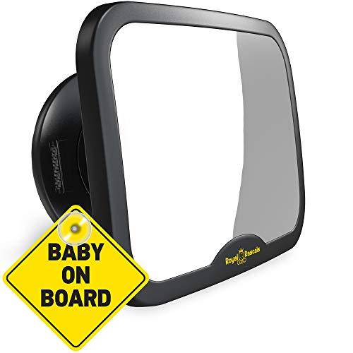 VERBESSERTES MODELL | ROYAL RASCALS Baby Autospiegel | Rückspiegel für rückwärts gerichtete Kindersitze | Passt in jede verstellbare Kopfstütze | Dreh- und Kippunktion | splitterfrei | PREMIUM PRODUKT