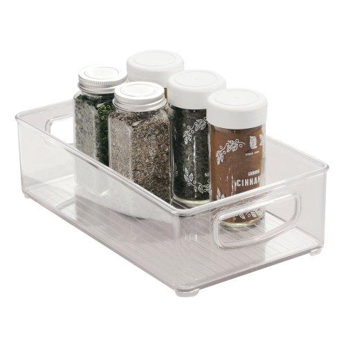 iDesign Aufbewahrungsbox für die Küche, mittelgroßer Küchen Organizer aus Kunststoff, offene Kühlschrankbox mit Griffen, durchsichtig