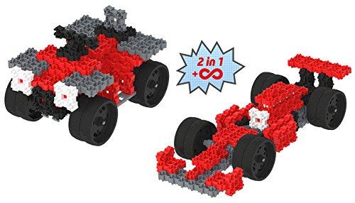 Fanclastic 100630 Set Rennfahrzeuge 2-in-1 Konstruktionsspielzeug, rot, grau, weiß, schwarz