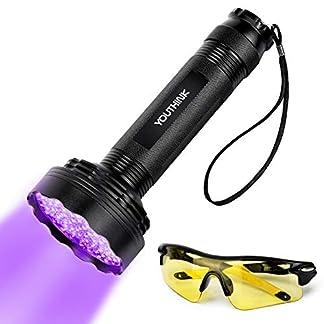 YOUTHINK UV Torch, 100 LED UV Flashlight with UV Protection Glasses, 395nm Upgraded 100 LED Flashlight Black Light Ultraviolet Lamp, Dog Cat Urine Detector, for Carpet/Floor 26