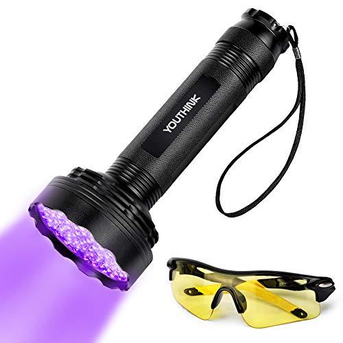 YOUTHINK UV LED Linterna Mejorada de 100 LED Lámpara Ultravioleta de luz Negra Detector de Orina para Perros y Gatos Ropa para Bebés Autenticar Moneda Fugas Peligrosas con Gafas de Seguridad