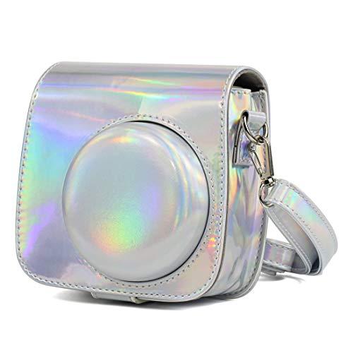 HRTEGB con Estilo - Aurora Petróleo Pinte el Caso del Cuerpo Completo de la cámara de la PU Bolsa de Cuero con Correa for el Mini instax FUJIFILM 9 / Mini-8 + / Mini-8 (Oro Rosa)