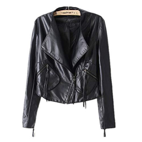TIKEHAN Automne Dames Moto vestes en Cuir Femmes col rabattu fermeture éclair Mince Noir Moto Motard Veste Femme Faux Manteau
