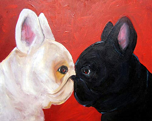 Black and White French Bulldogs Pet Dog﹣ DIY Diamond Painting by Numbers Kits ﹣ Rhinestone Picture Art Craft for Home Wall Decor
