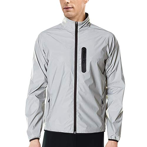 WOSAWE Men Reflective Jacket Night Glowing Bomber Jacket MTB Cycling Windbreaker Travel Sport Coat(Silver,M)
