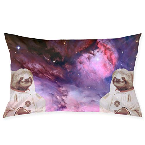 LESLIEYU Ultra-Soft Pillow Protectors Cases Covers, Space Sloth Rectangle Sofa Pillowcases Shams with Zippered, Waist Cushion Throw Pillow Cover for Couch Bed Bedroom Chair (20 x 30)