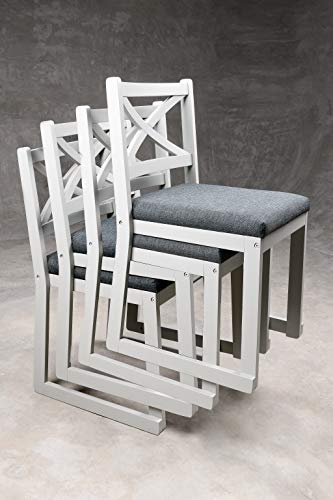 STACKERS Cross Back Dining Chairs | Grey Solid Wood & Grey Fabric Seat & Cross Back | 95% Assembled...
