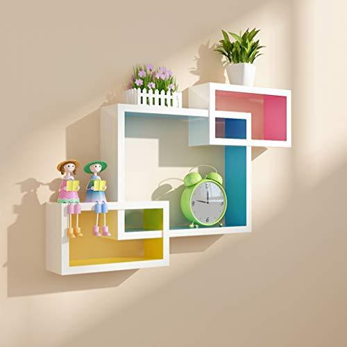 Wandrek - slaapkamer creatief woonkamer muur scheidingswand om op te hangen, TV achtergrond, wanddecoratie, plank voor opslag, rechte hoek, drie delen Outside White Color Inside