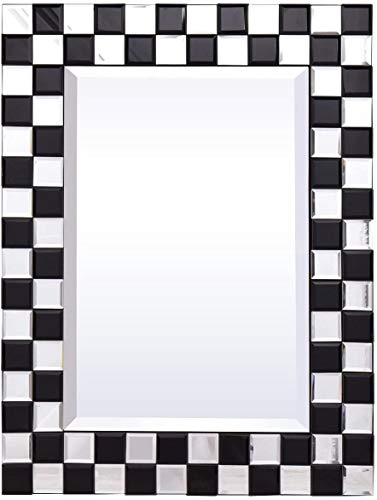 Tangkula Bathroom Wall Mirror, 23.5 x 31.5 Inches, Beveled Wood Frame Mirror -
