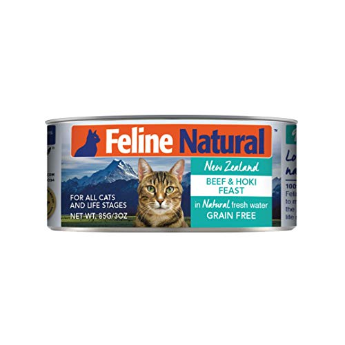 Feline Natural BPA-Free & Gelatin-Free Canned Cat Food, Beef & Hoki 3oz 24 Pack