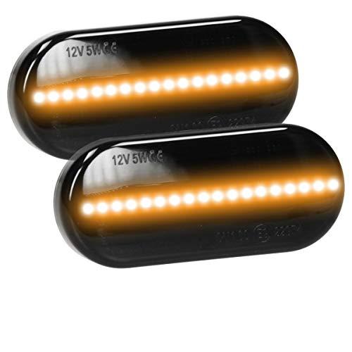 ECD Germany 2 Stück LED Seitenblinker Smoke 12V - Schwarz - mit E9 Prüfzeichen - Plug & Play Technik - Seitenblinkerleuchte Blinkerleuchte Blinkleuchte Blinker