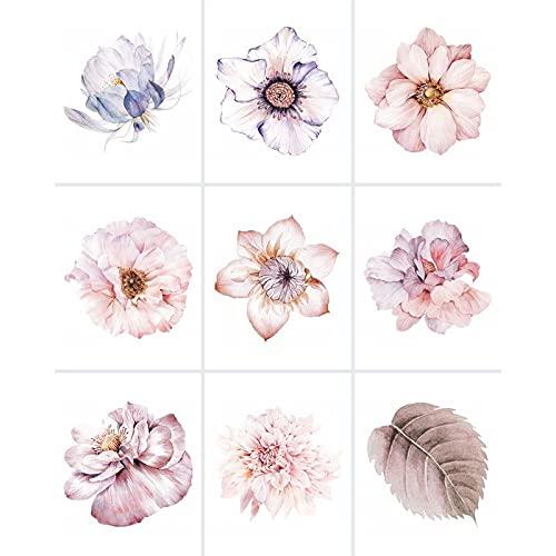 FoLIESEN - Adhesivo blanco para azulejos con flores de acuarela - 20 x 25 cm para baño, cocina, cuarto de baño - lámina autoadhesiva - 9 azulejos adhesivos, *: blanco brillante