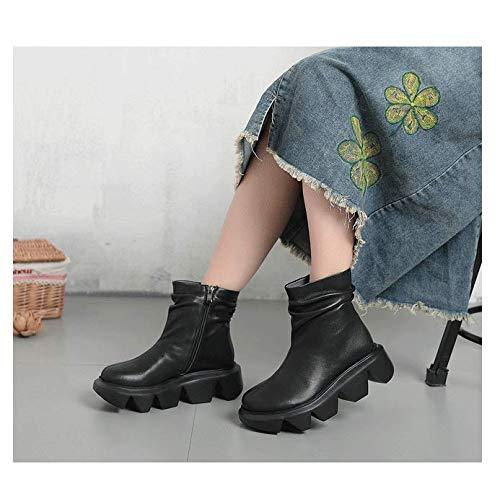 schoenen Enkellaarsjes voor vrouwen met dikke hak, Retro Lage hak Damping Casual Lace up Zijrits Ronde teen Platte hak Faux Lederen Herfst Vintage Platform 2020 Nieuwe 6cm zwart