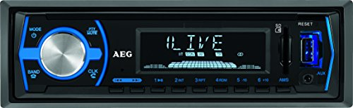 AEG AR 4030 BT/USB/CR autoradio met Bluetooth, USB en kaartlezer AUX-IN, LCD-display (blauw verlichtd), 4x 40 W, zwart
