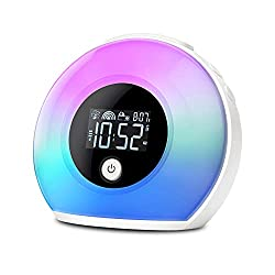 RMAI Wake Up Light Alarm Clock with Bluetooth Speaker, Kids Smart Digital Alarm Clock, Bedroom Table Lamp Colorful Warm Night Light for Teen Girls Room Decor