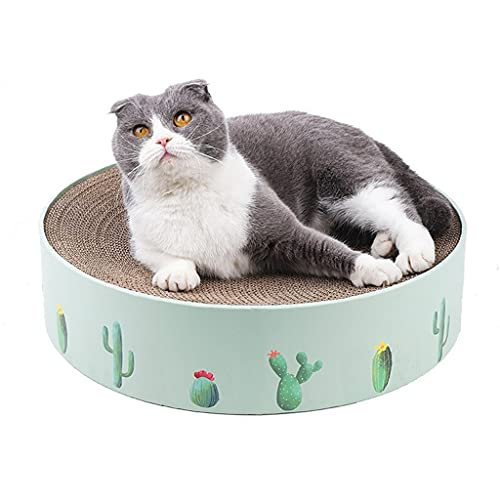 SCDCWW Round Type Cats Catnip Scratch Board Nail Scraper Mat Bed Toy Cats Scratcher Corrugated Paper Kitten Pad Rest Pet Supplies (Color : A, Size : 32x32x6cm)