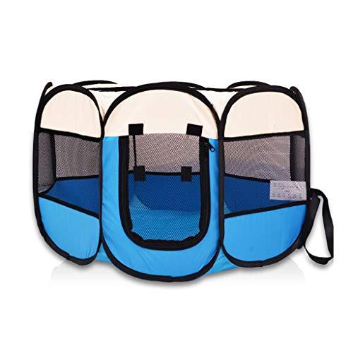 Jlxl opvouwbare huisdier spelen, draagbare huisdier tent binnen/buiten gebruik -8 panel waterbestendig anti-muggengaas ramen, L, Blauw