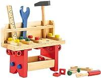 Playtastic Kinderwerkzeug: Lustige Holzwerkbank für kleine Handwerker, 51-teilig (Kinder Werkbänke)