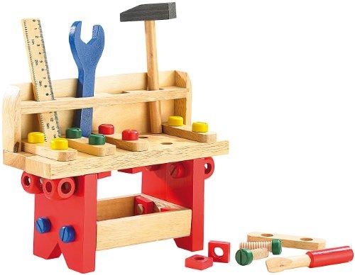 Playtastic Kinder Werkbank: Lustige Holzwerkbank für kleine Handwerker, 51-teilig (Kinder Holzwerkbank)