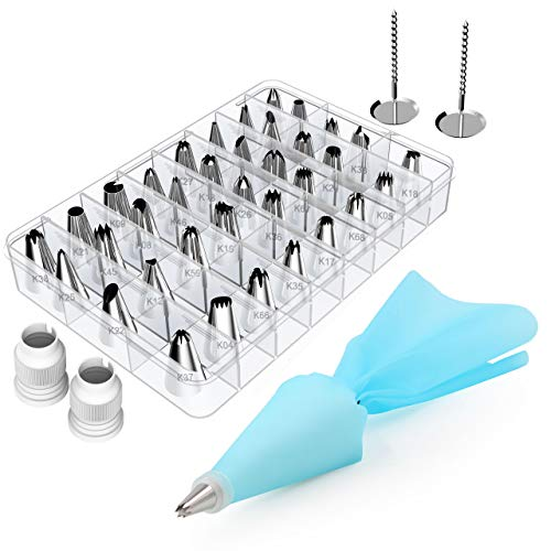 Kootek 42 Pieces Cake Decorating Tools Kits Supplies with 36 Numbered Icing Tips, 2 Silicone Pastry Bags, 2 Flower Nails, 2 Reusable Plastic Couplers Baking Frosting Tools Set for Cupcakes Cookies