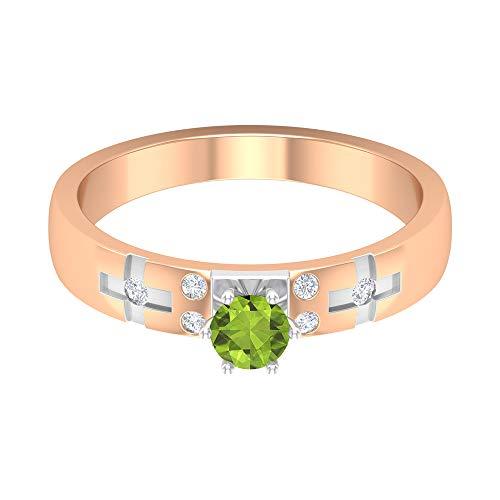 Anillo de compromiso solitario de 1/2 quilates con peridoto y diamante, anillo de compromiso, anillo de oro de dos tonos, anillo de aniversario para mujer, 18K Oro rosa, Size:EU 48