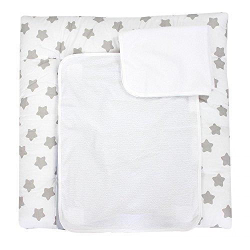 TupTam Wickelauflage inkl. 2 Frotteebezüge Modell MAR02579, Farbe: Weiß Große Graue Sterne, Größe: 70 x 70 cm