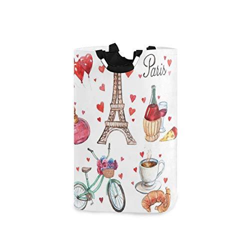 DYCBNESS Cesto para la Colada,París, ilustración, de, Corazones, Torre Eiffel, Vino Tinto, café, Perfume, Romance, temática,Cesta de lavandería Plegable Grande,Papelera de Lavado Plegable