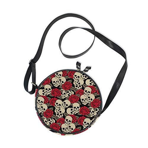 Damen Runde Handtasche Sugar Skull Rose Blumen Canvas Crossbody Tasche Kreis Geldbörse für Damen Mädchen