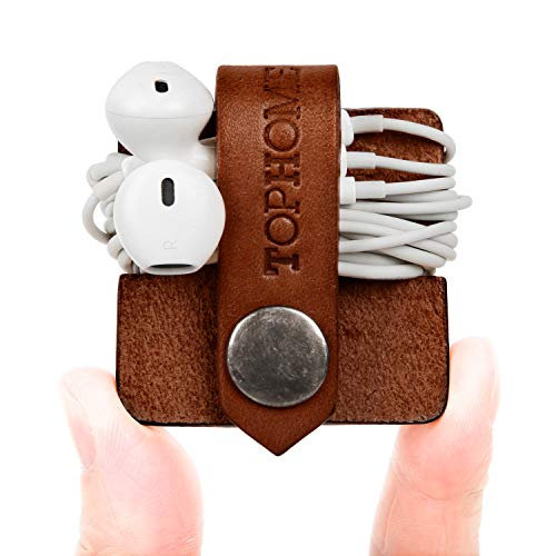 TOPHOME Cord Organizer Earbud Holders Earphone Wrap Earphones Organizer Headset Headphone Wrap Winder Cord Manager Cable Winder with Genuine Leather