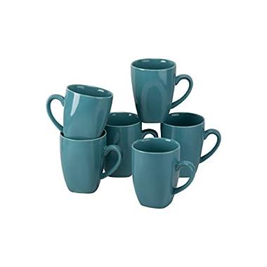 10 Strawberry Street Wazee Square - 10 Oz Mug - Set of 6 - Aqua