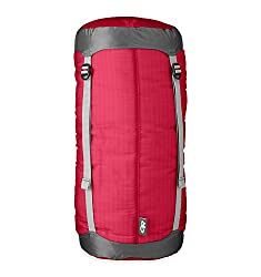 This backpacking gift idea image shows the red Outdoor Research Ultralight Compression Sack on a white background.