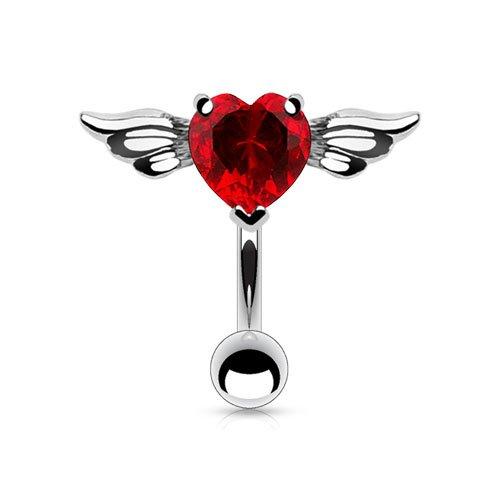 Tata Gisèle - Piercing per ombelico in acciaio chirurgico 316 L e ossido di zirconio, cuore con le ali d'angelo. e Acciaio inossidabile, colore: rosso, cod. 3701181758663