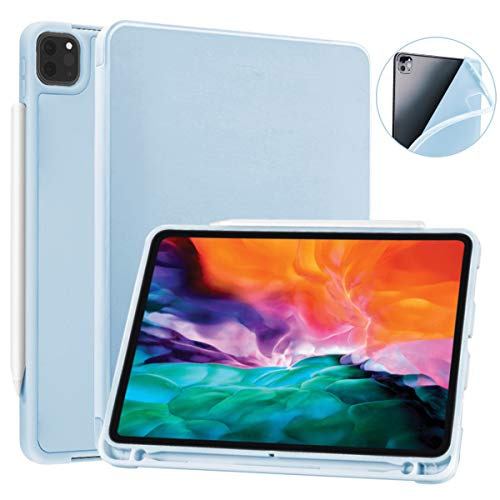 SIWENGDE Case for iPad Pro 12.9 case 4th Generation 2020 Support Apple 2nd Pencil Charging & Pair, Slim Lightweight Trifold Stand Smart Protective Case Cover for Kids (Light Blue)